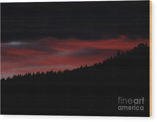 Wood Print featuring the photograph Fire In The Sky by Ann E Robson