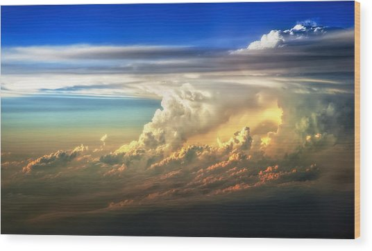 Fire In The Sky From 35000 Feet Wood Print