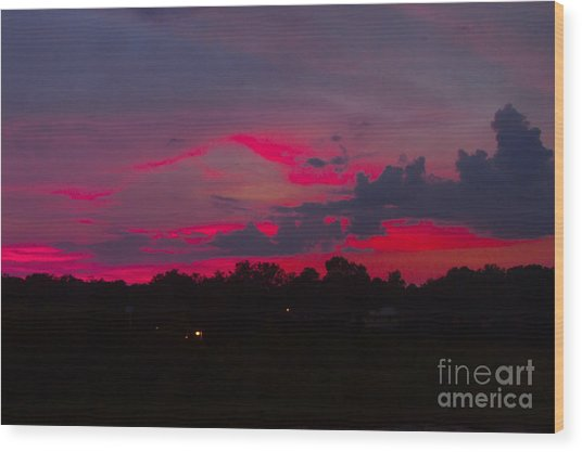 Fire In The Sky Wood Print by Heather Roper