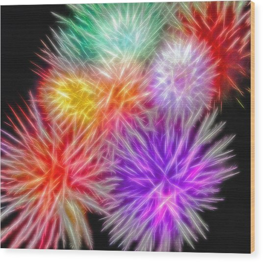 Fire Mums - Fireworks Collage 2 Wood Print by Steve Ohlsen