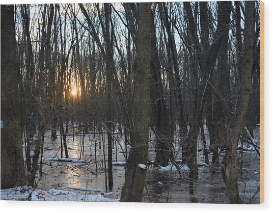 Fire On Ice Wood Print by Bill Helman