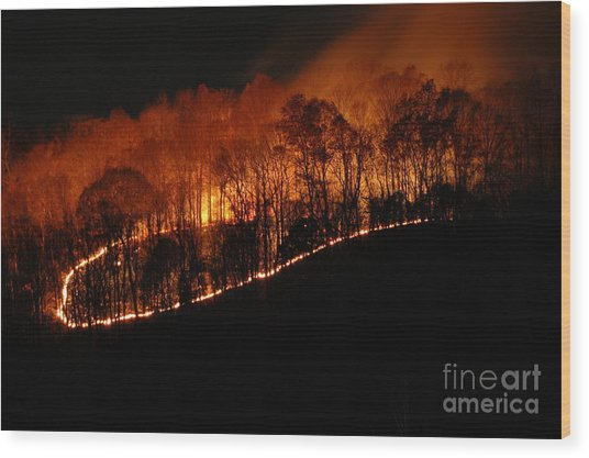 Fire On The Mountain Wood Print by Steven Townsend