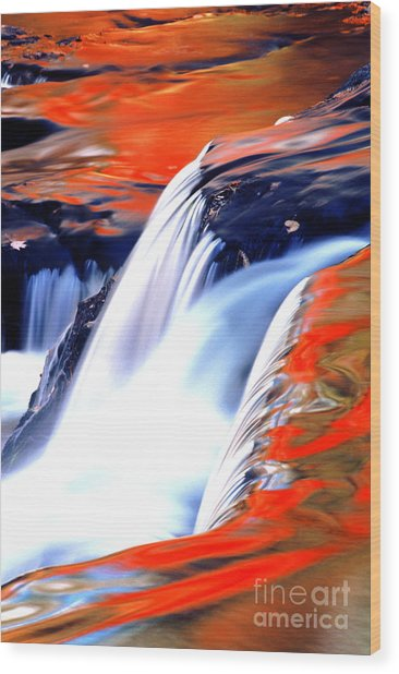 Fire On Water Fall Reflections Wood Print by Robert Kleppin