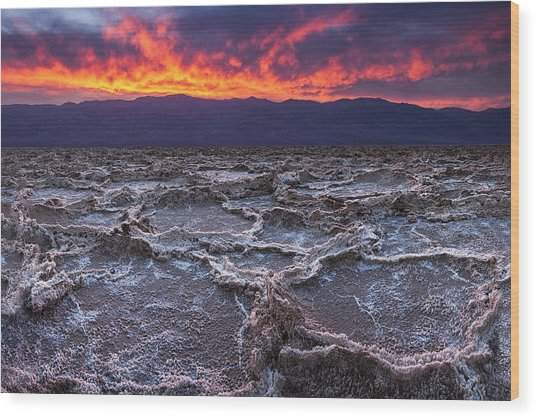 Fire Over Death Valley Wood Print