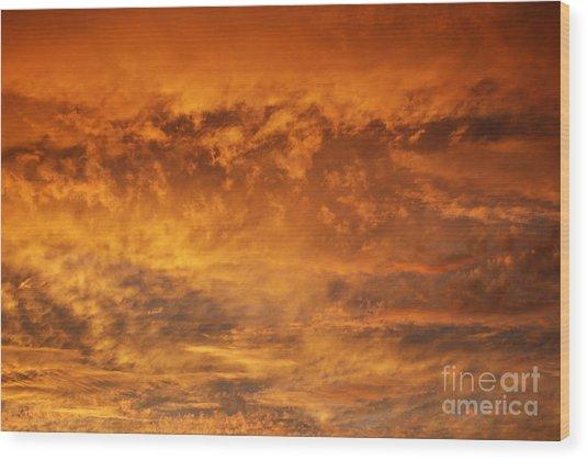 Fire Sky Wood Print by Manda Renee