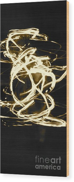 Fire Spin Wood Print by Ashley Ordines