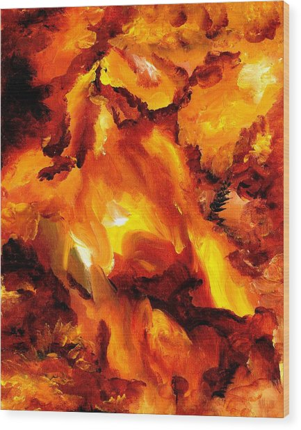 Fire Storm Wood Print