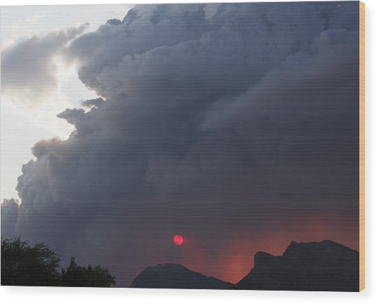Fire Sunset Below Wood Print