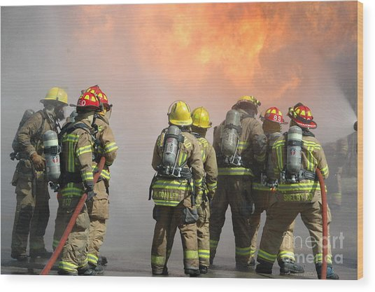 Fire Training  Wood Print by Steven Townsend