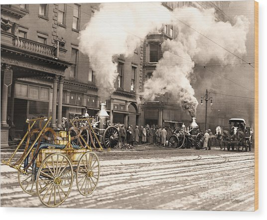 Fire Truck In New York 1890 Collage Wood Print
