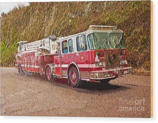 Fire Truck Ladder Unit. Wood Print