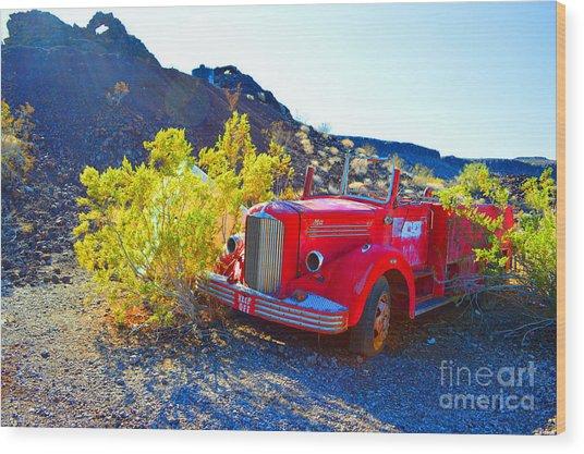 Fire Truck Parking Wood Print