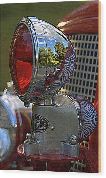 Fire Truck Reflections Wood Print