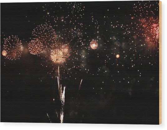 Wood Print featuring the photograph Fire Work Display by Debbie Cundy