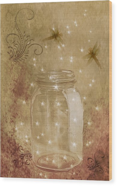 Fireflies And Dragonflies Wood Print