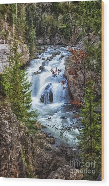 Firehole Falls Wood Print