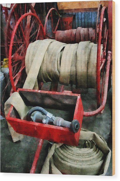 Fireman - Fire Hoses Wood Print