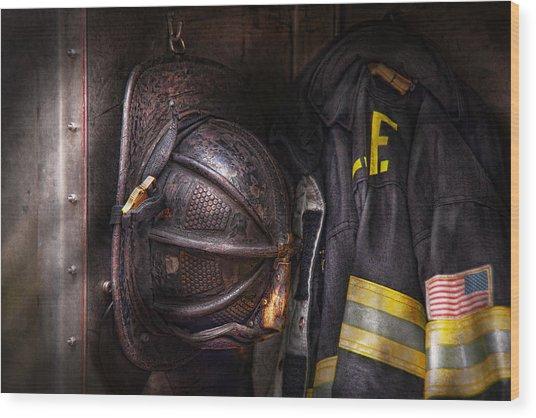 Fireman - Worn And Used Wood Print