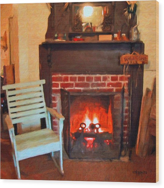 The Family Hearth - Fireplace Old Rocking Chair Wood Print