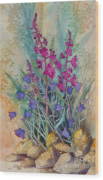 Fireweed And Bluebells Wood Print