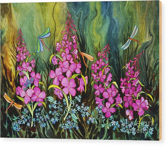 Fireweed And Dragonflies Wood Print