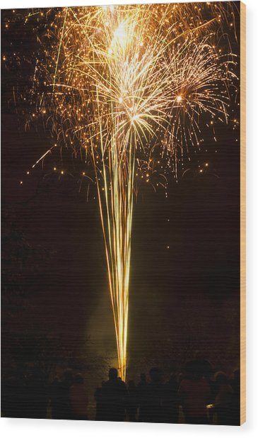 Firework Display Wood Print