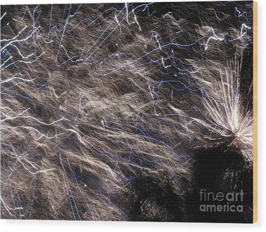 Firework - Feu D'artifice - Ile De La Reunion - Reunion Island - Indian Ocean Wood Print by Francoise Leandre
