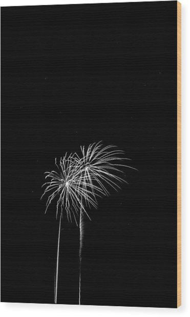 Firework Palm Trees Wood Print