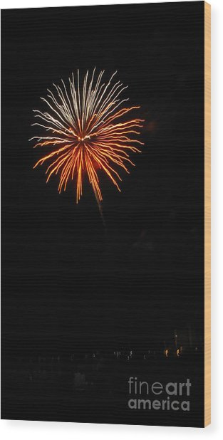 Fireworks - White And Orange Wood Print by Gayle Melges