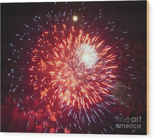 Fireworks 1 Wood Print by Leslie Cruz