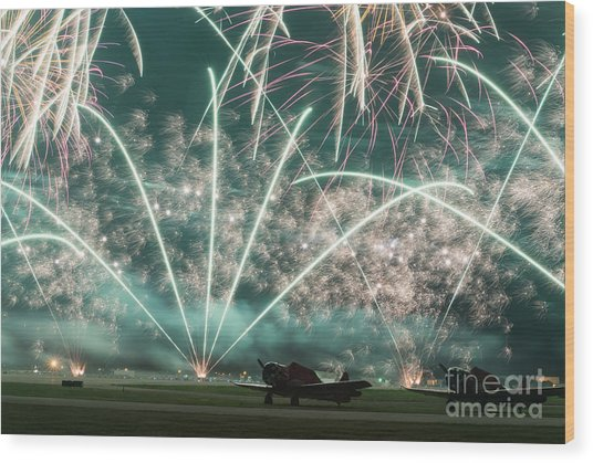 Fireworks And Aircraft Wood Print