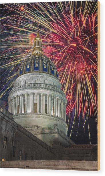 Fireworks At Wv Capitol Wood Print