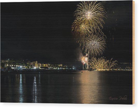 Wood Print featuring the photograph Fireworks Ceriale 2013 3718 by Enrico Pelos