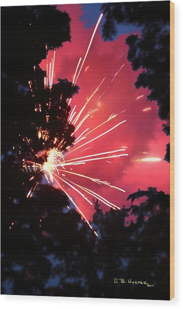 Fireworks Forest Wood Print