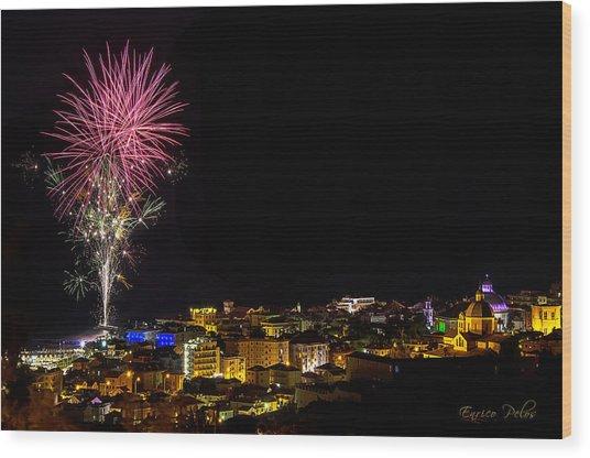 Wood Print featuring the photograph Fireworks Loano 2013 3353 - Ph Enrico Pelos by Enrico Pelos