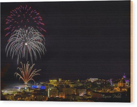 Wood Print featuring the photograph Fireworks Loano 2013 3374 - Ph Enrico Pelos by Enrico Pelos