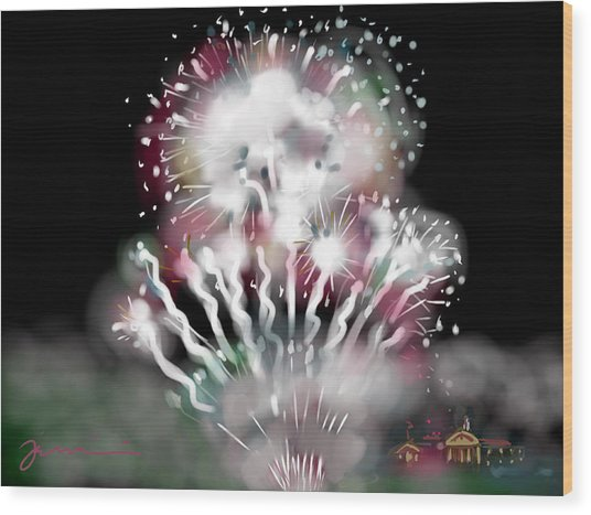Fireworks On High School Hill Wood Print