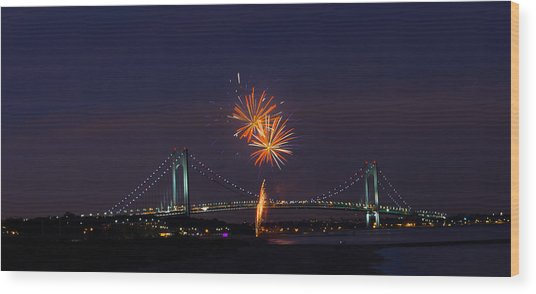 Fireworks On Staten Island South Beach Wood Print