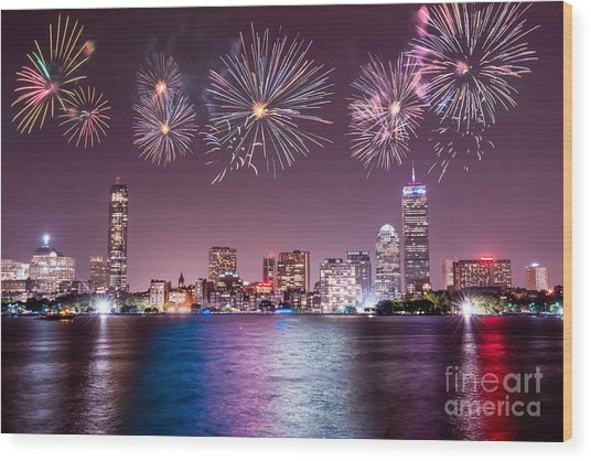 Fireworks Over Boston Wood Print