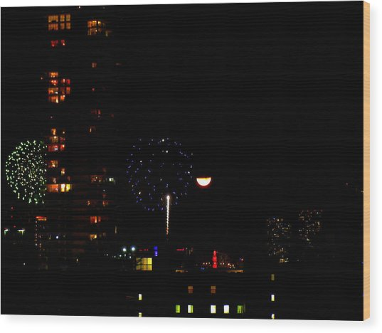 Fireworks Over Miami Moon II Wood Print