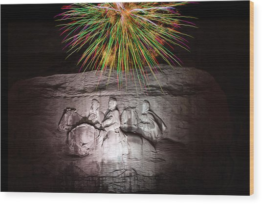 Fireworks Over Stone Mountain Wood Print