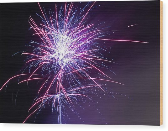Fireworks - Purple Haze Wood Print