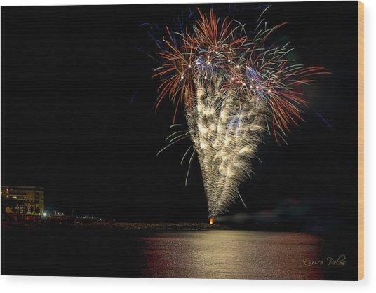 Wood Print featuring the photograph Fireworks San Lorenzo Al Mare 2013 1981 - Ph Enrico Pelos by Enrico Pelos