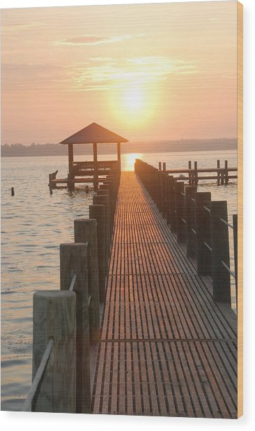 Firey Gulf Pier  Wood Print