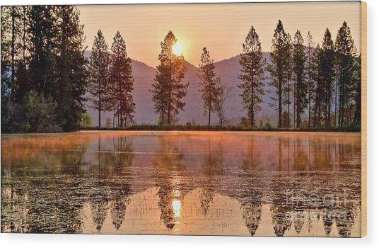 Firey Reflections Wood Print