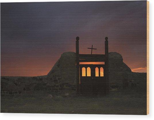 Firey Sunset Wood Print by Jeanne Hoadley