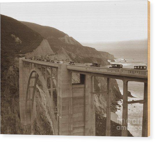 First Cars Across Bixby Creek  Bridge Big Sur California  Nov. 1932 Wood Print