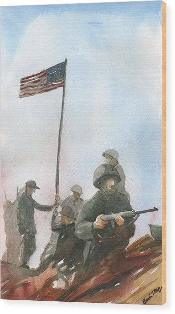 First Flag Over Iwo Jima Wood Print