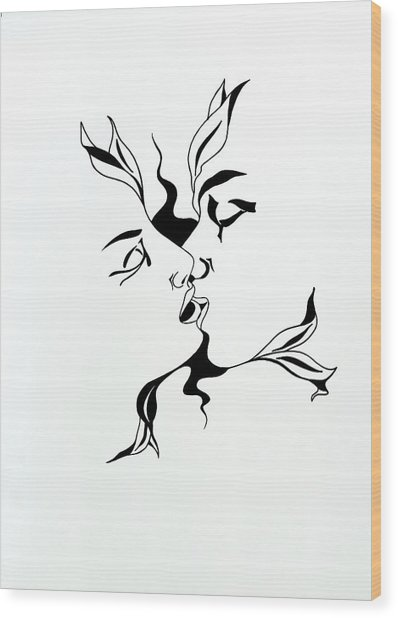 First Kiss Wood Print