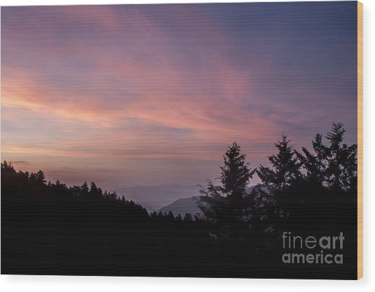 First Light At Newfound Gap Wood Print by Ricky Smith